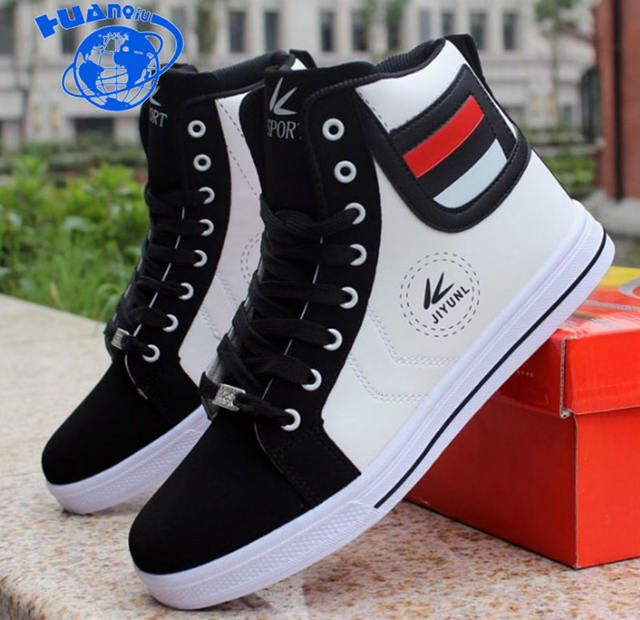 HUANQIU Brand Men Shoes 2018 Spring Fashion Boots Shoes Man High Top Shoes Men Lace Up Casual Shoe Chaussure Plus size 45 ZLL434