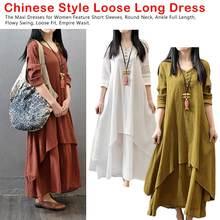 Woman Dresses Robe Long Sleeve O-neck Ethnic Cotton Linen Summer Beach Style  Maxi Dress