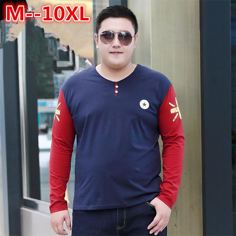 10XL 8XL 6XL 5XL marque hommes T-shirt mode impression hauts/t-shirts décontracté manches longues col en v T-shirt mode hommes T-shirt