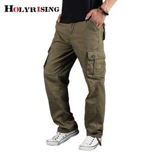 Image 3 - Holyrising メンズカーゴパンツカジュアルズボン綿ズボンマルチポケット戦術的なパンツ男性迷彩綿 90% パンツ 18671