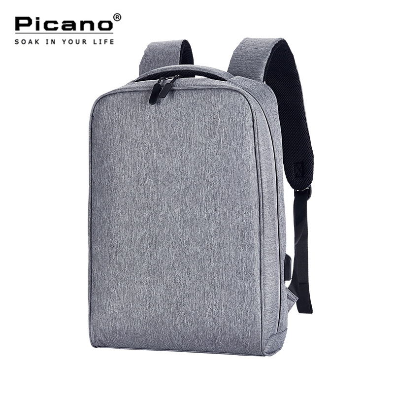 Picano Simple Canvas Laptop Backpack Men USB Charge Notebook Black Backpacks Women Carry On Luggage Waterproof