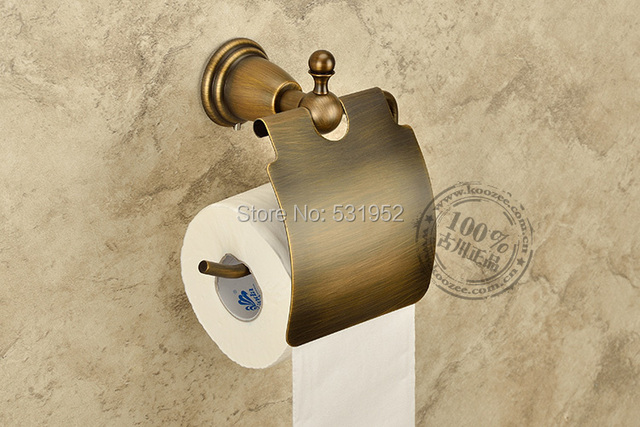 Free Shipping Antique Wall Mounted Toilet Roll Holders Toilet Paper Storage  With Cover Bathroom Accessories
