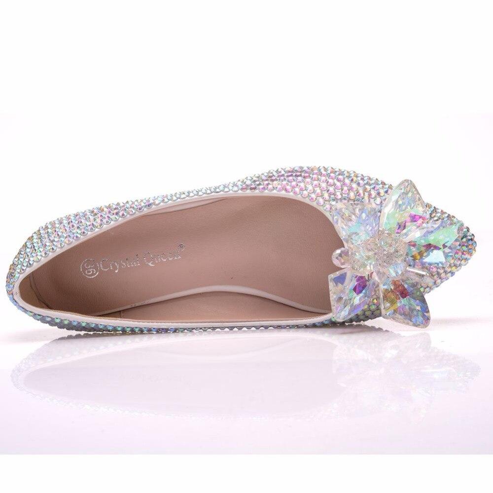 Strass Pointu Chaussures Reine Appartements Ballet Multicolor Taille Mariée Cristal Plat Mariage Bout La Blanc Plus Luxe De silver pf07dxt