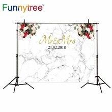 Mármore flor do casamento Mr Mrs Funnytree backdrop para estúdio fotográfico profissional fundo impresso photobooth prop