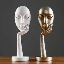 Abstrakte Statuen Skulptur Kunst Handwerk Modernen Menschlichen Meditier Charakter Harz Figur Dame Gesicht Hause Erhalten Dekorative