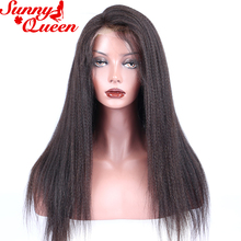 Human Hair Wigs For Black Women Italian Yaki Straight Lace Front Human Hair Wigs Pre Plucked Remy Hair Sunny Queen