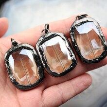 10 pièces lunette verre noir Gunmetal bordé verre pendentifs bijoux fins, verre à Champagne facettes Rectangle verre cristal perles ZJC05
