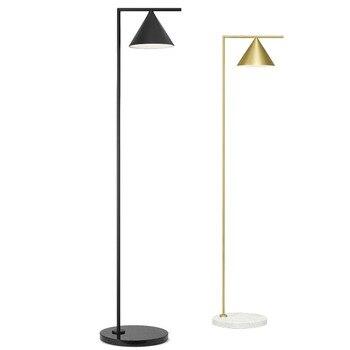 Simple moderne lampadaire noir or métal corps lampe de table base en marbre créatif lampe sur pied ajuster abat-jour art home deco