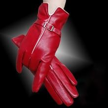 Leather gloves sheepskin ladies women warm plus velvet buttons multi - color