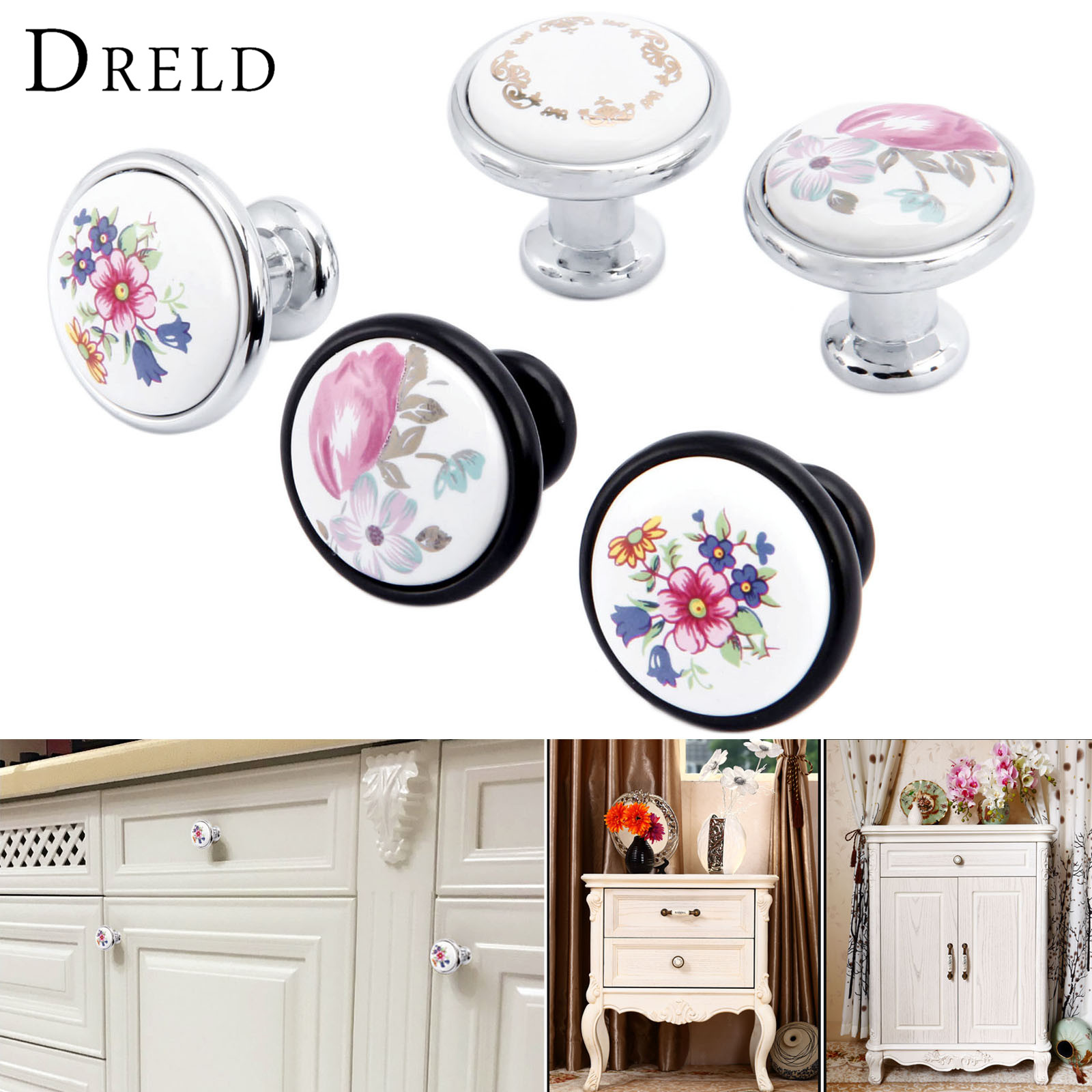 DRELD Furniture Handle Modern Cabinet Knobs and Handles Door Cupboard Drawer Pull Handle for Kitchen Bedroom Furniture Hardware retro vintage kitchen drawer cabinet door flower handle furniture knobs hardware cupboard antique metal shell pull handles 1pc