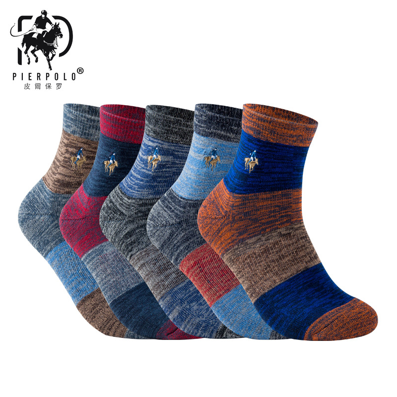PIERPOLO New 5Pairs/lot High Quality Cotton Thicken Men Socks Comfortable Socks Mens Coolmax Socks Winter Warm Socks