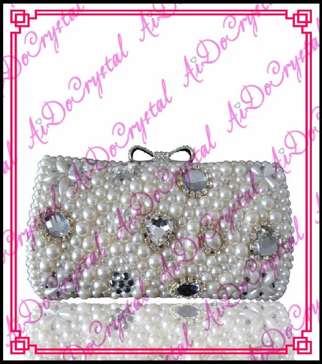 Aidocrystal Shining white pearls ladies clutch font b bag b font and matching slip on high
