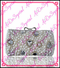 Aidocrystal Shining white pearls ladies clutch bag and matching slip-on high heeled shoes for party