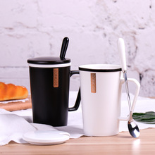 Creative Personality Cup Ceramic Mug with Lid Spoon Trend Couple Drinking Household Coffee Men and Women