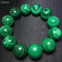 Natural Malachite Chrysocolla Stretch Gemstone Round Big Beads Bracelet Polished Stones Supplies for Wicca Reiki Energy Crystal