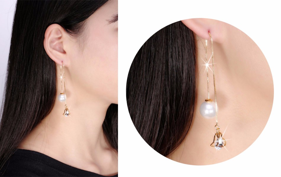 Effie Queen Fashion Cute Ear Wire Earrings Female Models Long Drop Crystal Imitation Pearl Jewelry Dangle Earrings Brincos DDE26 10
