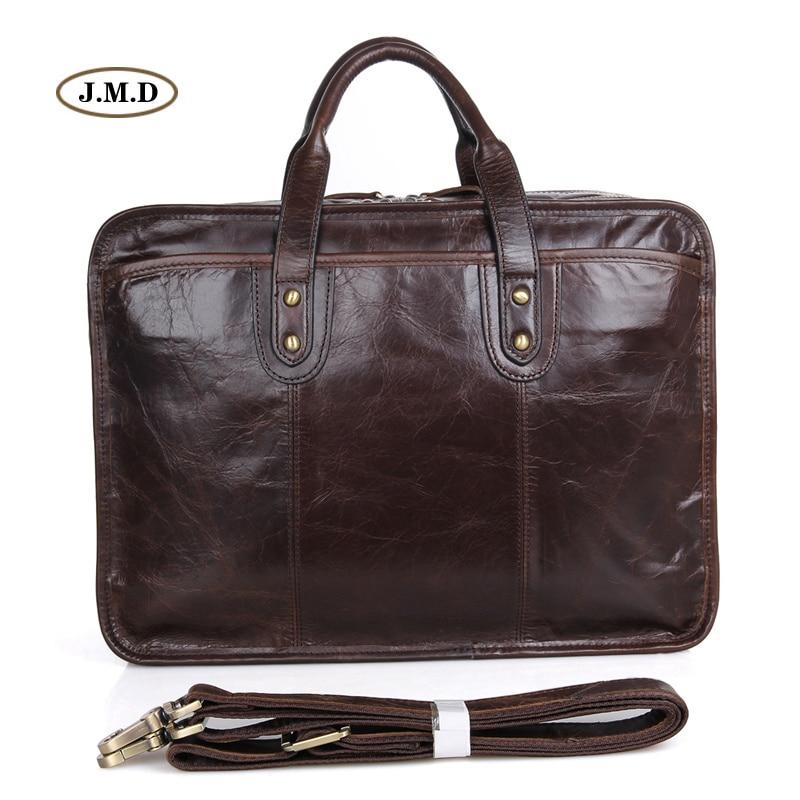 Augus New Arrivals Genuine Cow Leather Men's Fashion Handbag Business Large-capacity 15 Inches Laptop Bag Shoulder Bag 7345C