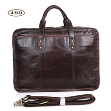 J.M.D New Arrivals Genuine Cow Leather Men's Fashion Handbag Business Large-capacity 15 inches Laptop Bag Shoulder Bag 7345C