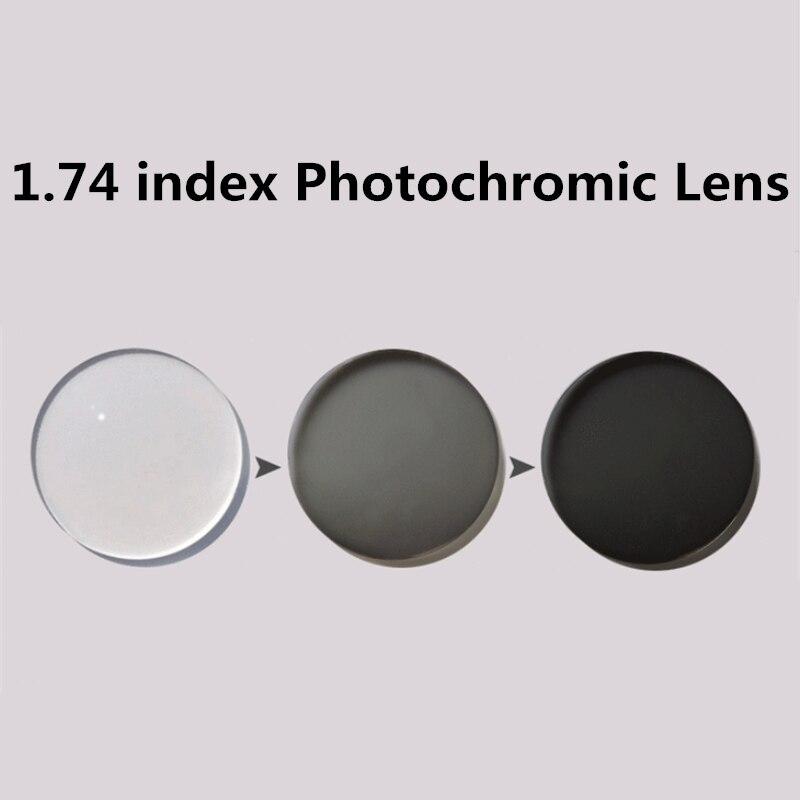 Langford marque 1.74 indice lentille photochromique prescription lentille Transition lentilles grises pour myopie hyperopie lunettes de soleil lentille