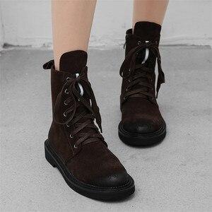 Image 5 - FEDONAS marka kadın yarım çizmeler sonbahar kış inek süet kısa bayan ayakkabıları kadın kalın topuklu Punk parti kulübü ayakkabı temel botları