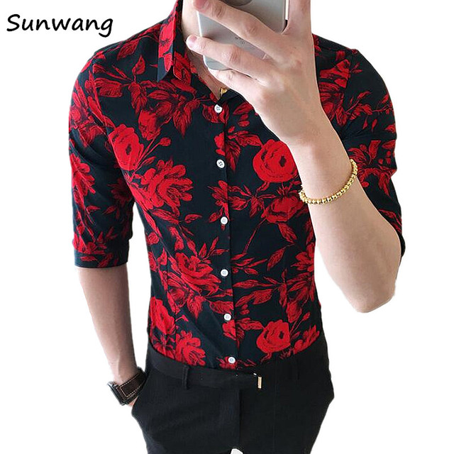 6db657dc07b9 Sunwang 2019 Fashion Mens Half Sleeve Hawaiian Shirt Summer Red Black  Casual Floral Shirts For Men Dress Shirt Slim Fit Shirts