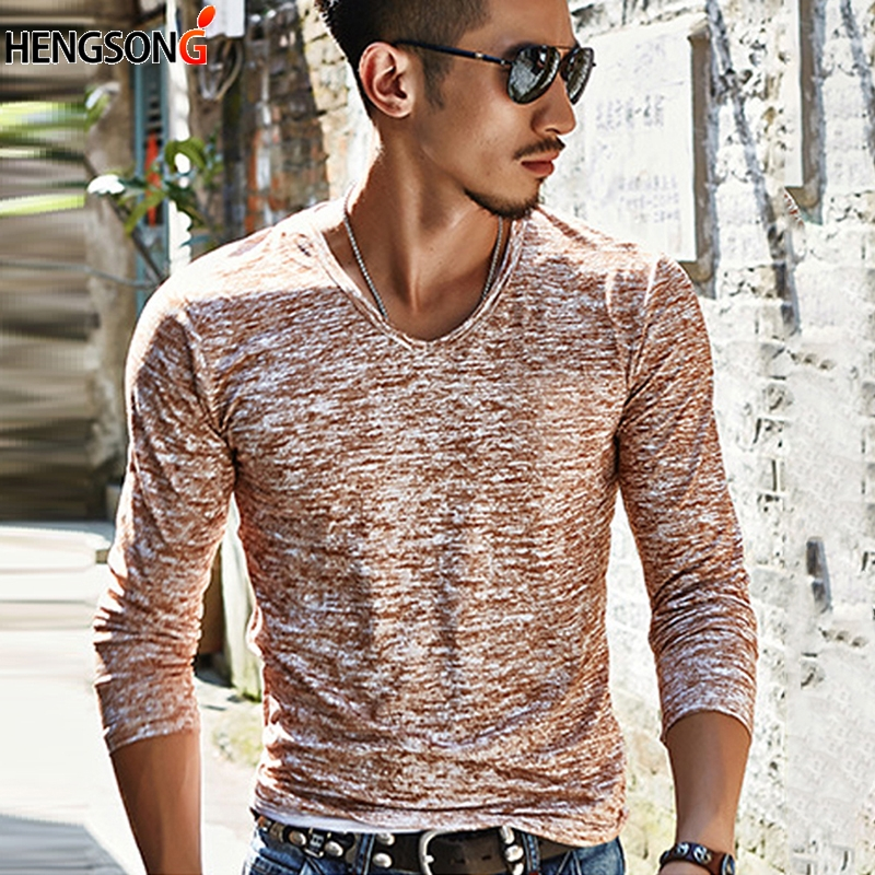 New Man's T-Shirts 2018 Autumn Tshirt Long Sleeve V-Neck Tees Cotton Blend Top Casual T Shirt Men Clothing Plus Size