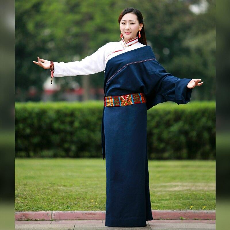 Китайский национальный стиль одежда один слой тибетская рубашка + халат женский путешествия праздники платье Тибет Lhasa модное тибетский