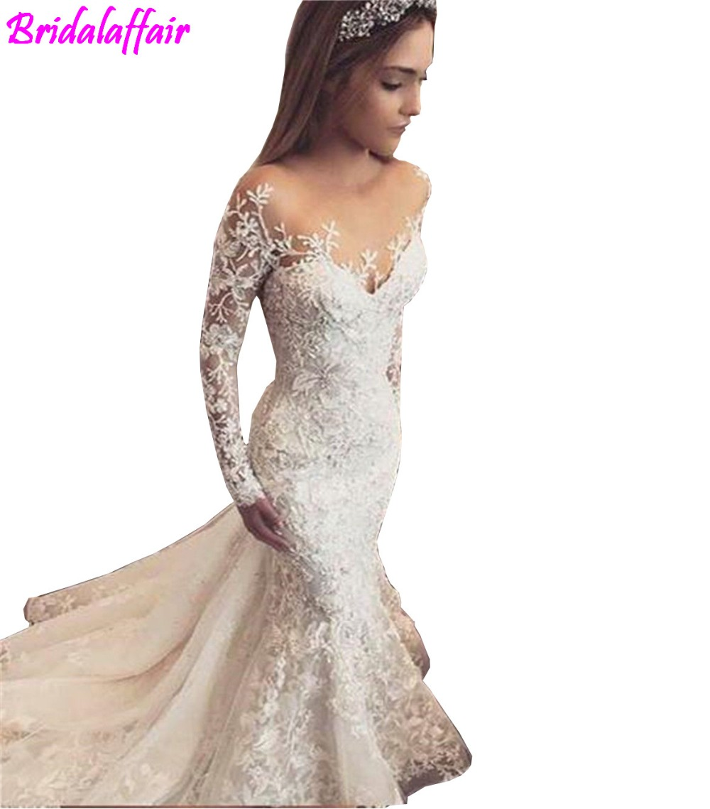 2018 Nuovi Abiti Da Sposa Sirena Manica Lunga Pizzo Perle Sexy Abiti di Nozze Vestido De Noiva Da Sposa women wedding dress