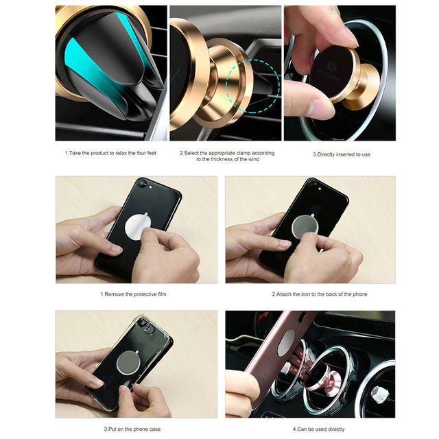 Car Phone Holder GPS Stand Air Vent Magnet Mount
