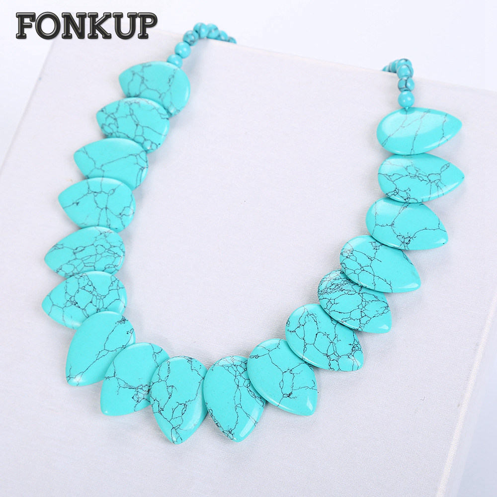 Forkup Blue Bead Chains Turquoise Necklace Trendy Women Jewelry Leaf Pendant Wedding Rope Chain Ornaments Natural Stone Men Gift trendy layered teardrop turquoise geometric chain tassel necklace