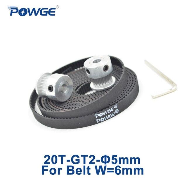 POWGE 2 pcs 20 Dentes GT2 GT2 Sincronismo Polia Bore 5mm + 2 Metros Cinto aberto 2GT largura 6mm 20 Dentes 20 T Pequena Folga para 3D de impressora