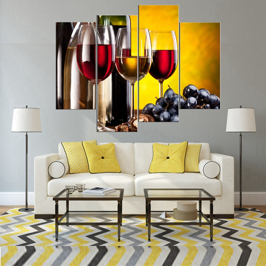 Canvas Wall Art Wine Grape Poster Painting Canvas Prints 4 Pieces ...