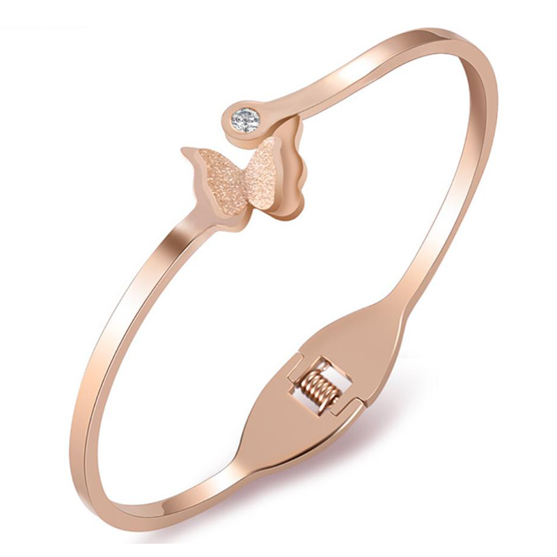 High Quality Luxury Butterfly Bangles for Women 2018 New Fashion Rose Gold Color Cuff Bracelets & Bangles Women Jewelry Gifts