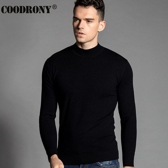 HS New Autumn Winter Thick Warm 100% Merino Cashmere Wool Sweater Men Casual Solid Color Round Neck Turtleneck Pullover Men 6304