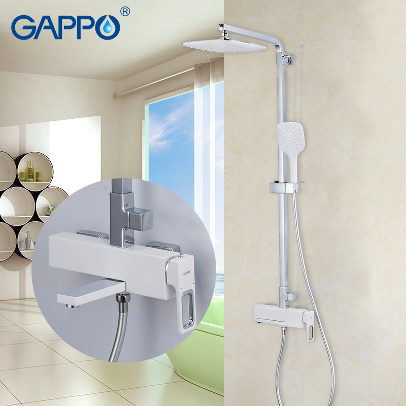 GAPPO sanitary ware suite chrome rainfall shower set bathroom waterfall mixer shower wall mounted torneira do anheiro faucets