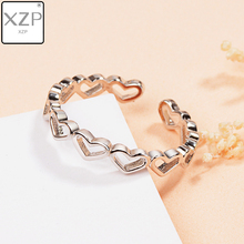 XZP Silver Plated Hollow Out Heart to Heart Shape Open Rings Cute Love Wedding Jewelry For Women Young Girl Gifts Adjustable цена 2017