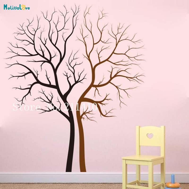 Two Colors Tree Wallpaper VinylTrunk Wall Decals Home Decoration For Living Room Bedroom Self adhesive Art Murals YT650