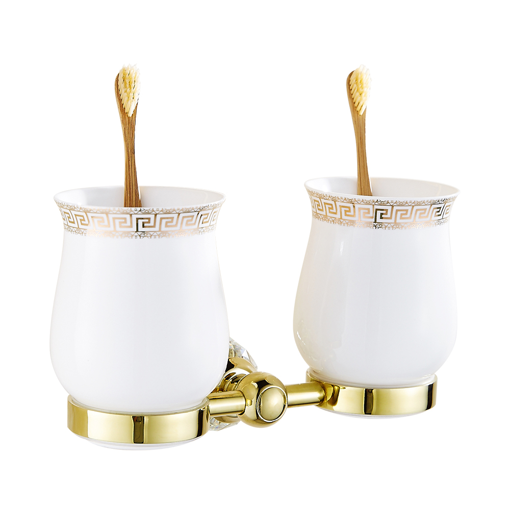 Antique Gold Crystal Toothbrush Holder Luxury Polished Brass Toothbrush Holder Double Cups Bathroom Accessories Products HW allen roth brinkley handsome oil rubbed bronze metal toothbrush holder