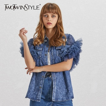 TWOTWINSTYLE Summer Mesh Patchwork Women Jacket Lapel Sleeveless Button Big Size Denim Coat Female Fashion Clothes 2020 Tide 1