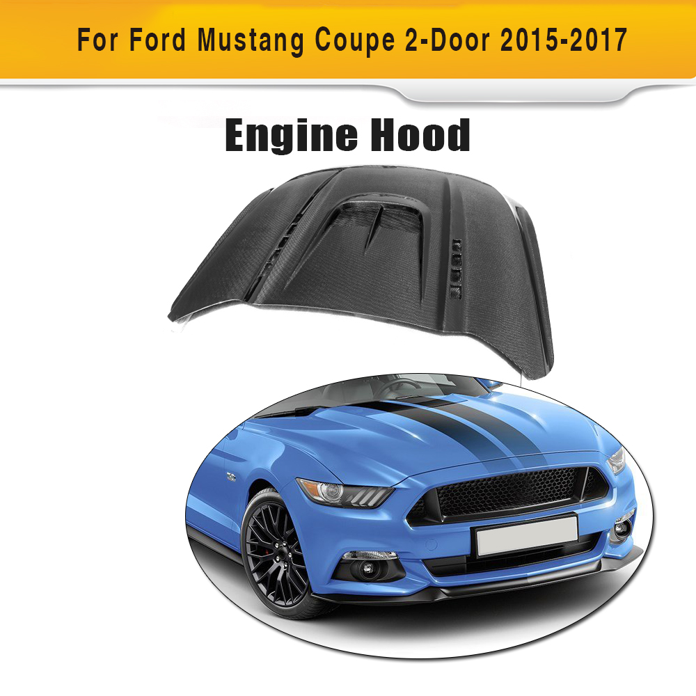 Capots avant de voiture en Fiber de carbone couvre capot de moteurs Auto pour Ford Mustang coupé Convertible 2 portes 2015 2016 2017