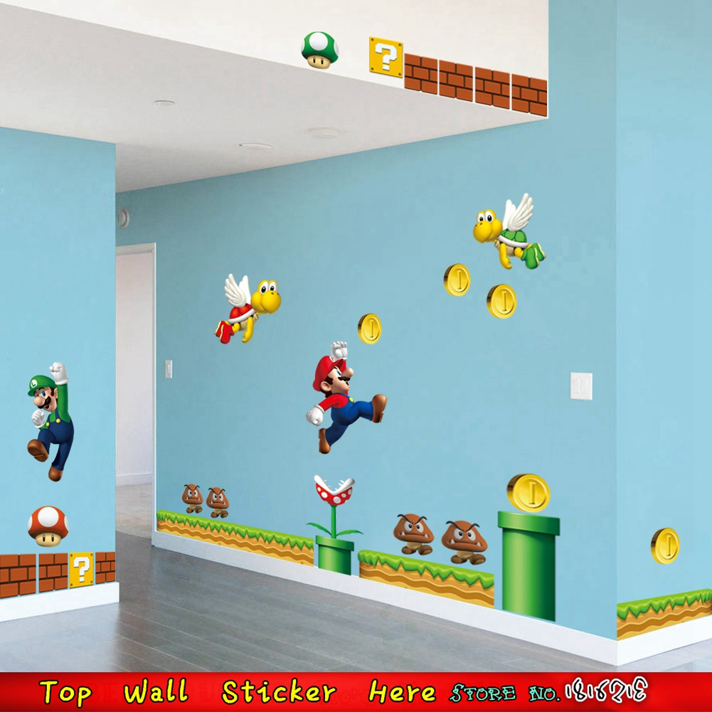 Aliexpress.com : Buy Non Toxic Boys Kids Room Wall Paper Paste Super Mario  Wall Stickers Home Children Bedroom Decors Mural Art Decals Wall Stickers  From ... Part 40