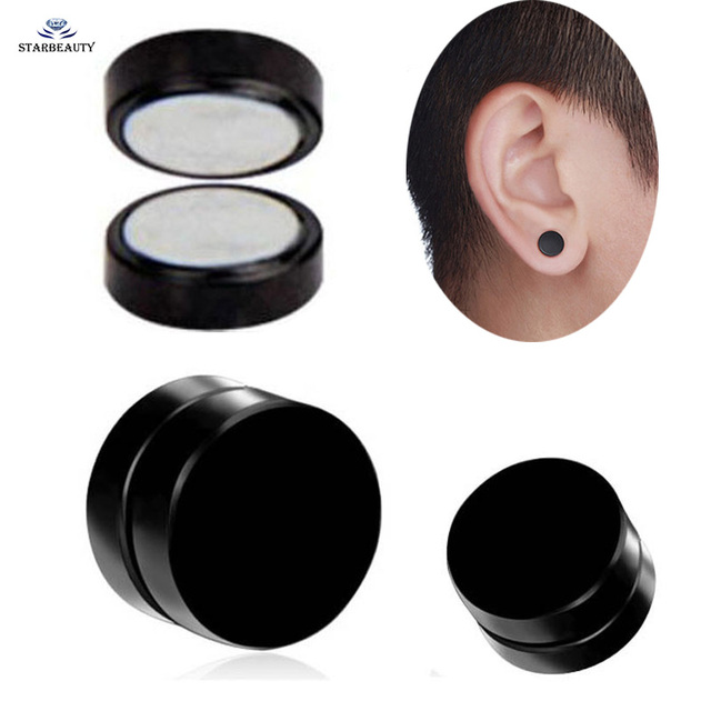 1 Pair Punk 6 12mm Magnetic Fake Ear Plugs Tunnel Black Blue Stretcher