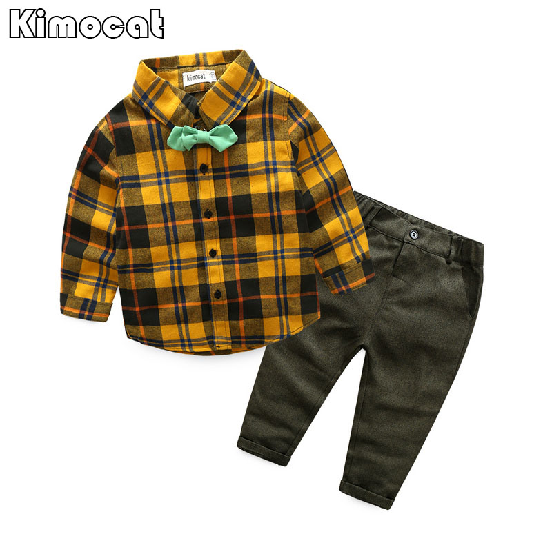 Kimocat Baby Boys Clothing Set Toddler Cotton Baby Kids Clothes Autumn Casual Children Suit Infant T-shirt+Pants 2Pcs Boy Gentle