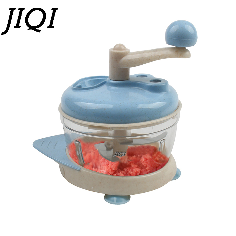 JIQI Multifunctional Manual Meat Grinder Slicer Beef Pork Vegetable Mincer Hand Food Chopper Mixer Blender Fruit Garlic Cutter eilemo meat grinder cutting machine meat slicer mincer cutter portable manual hand blender mixer food processor