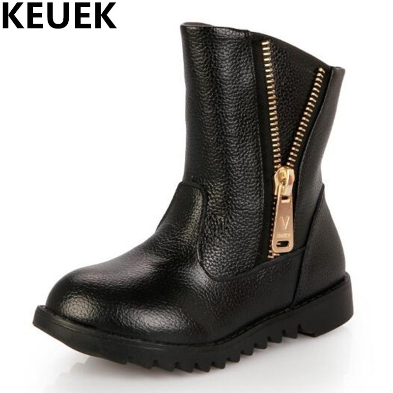 NEW Autumn/Winter Warm Shoes Children Genuine Leather Ankle Boots Girls Martin Boots Kids Princess Snow Boots Baby 044