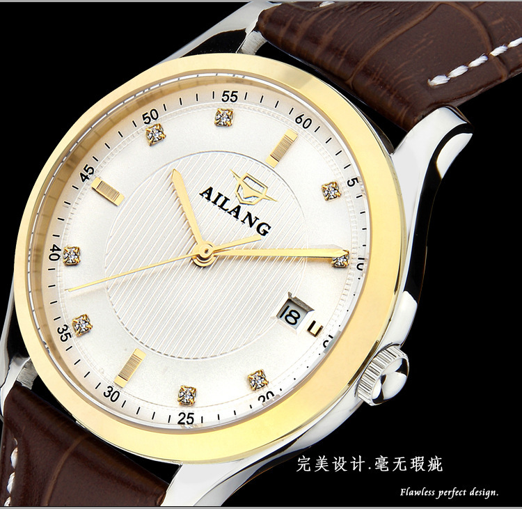 AILANG Men Luxury Crystals Business Dress Watches Genuine Leather Automatic Clock Self Wind Analog Relojes 30M Waterproof NW3316 luxury men brand crystals dress watches self winding mechanical 316l band calendar wristwatch saphir relojes analog 3atm nw4239