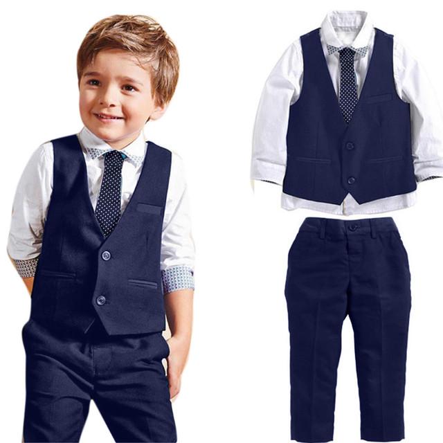 Moda 2016 roupas meninos da criança 4 pcs Cavalheiro Ternos Camisas + Colete + Calça + Gravata de Casamento Roupas 1 Conjunto roupa dos miúdos grandes
