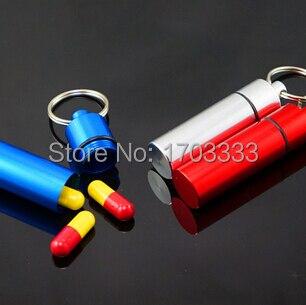 Оптовая продажа Большой Размеры водонепроницаемый корпус таблетки наркотиками Micro металла Алюминий Pill Box Цвет Mix брелок Pill держатель 200 шт.