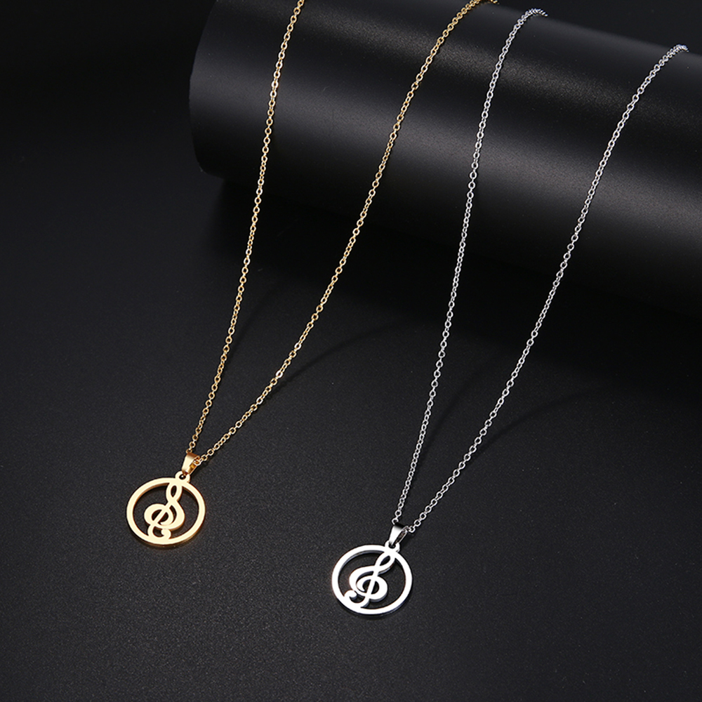 HTB1b 5cbaL7gK0jSZFBq6xZZpXat - DOTIFI  Stainless Steel Necklace For Women Man Musical Symbol Gold And Silver Color Pendant Necklace Engagement Jewelry