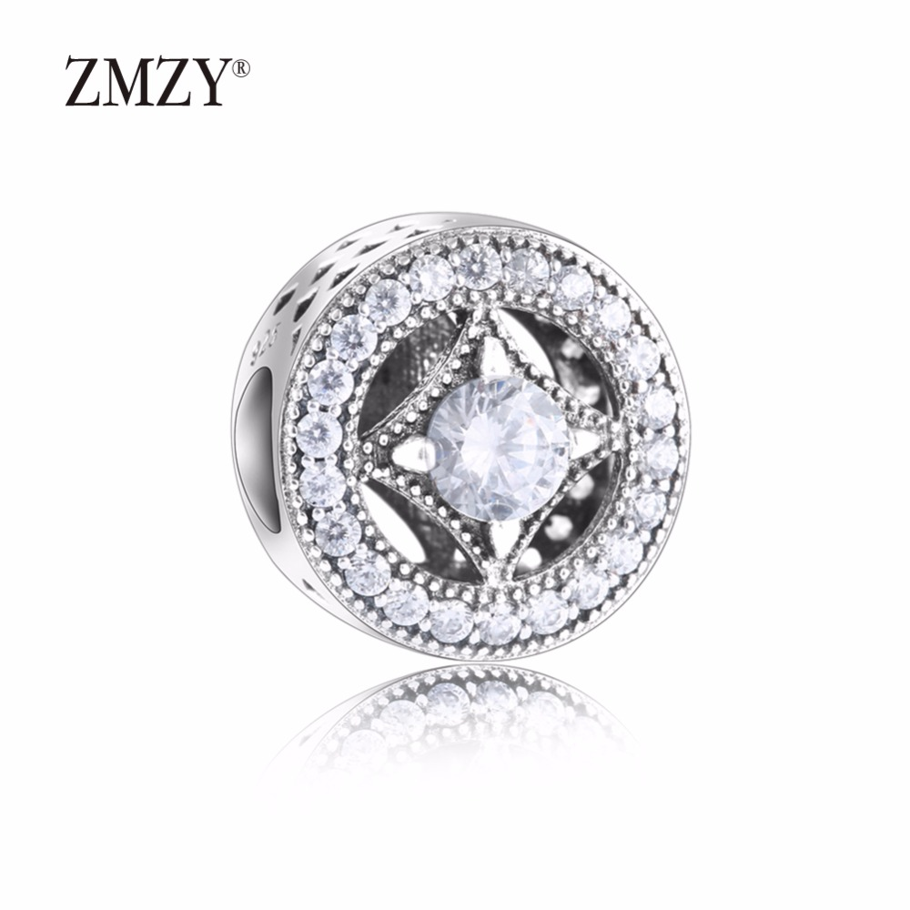 ZMZY Authentic 925 Sterling Silver Charm with Clear Cubic Zirconia Beads Fits Pandora Charms Bracelets Making
